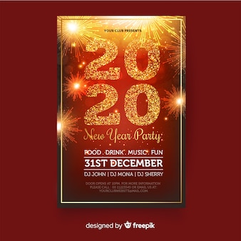 Affiche du parti nouvel an 2020 au design plat