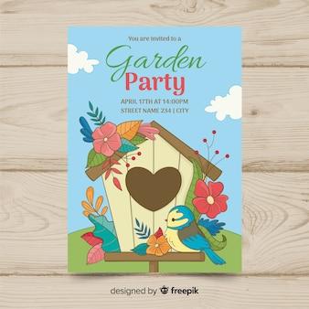 Affiche du parti de printemps dessiné main birdhouse
