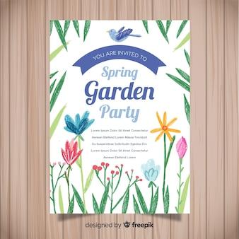 Affiche du parti printemps fleurs dessinées à la main