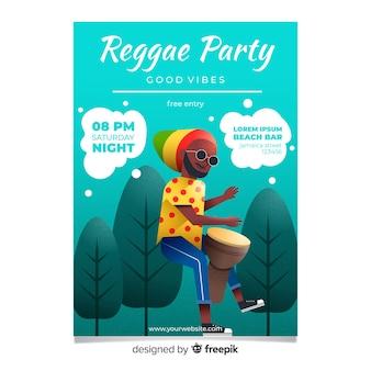Affiche du parti reggae coloré avec design plat