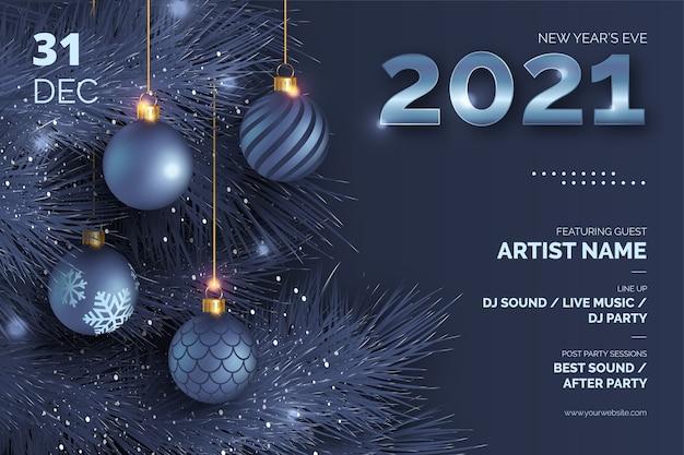 Affiche du réveillon du nouvel an avec des boules de noël réalistes