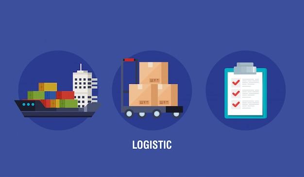Affiche du service logistique de livraison avec des icônes
