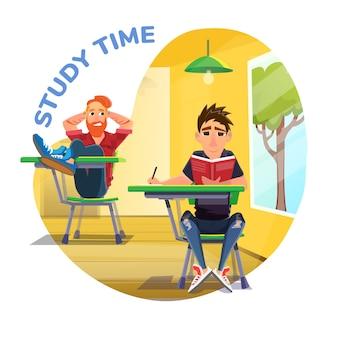 Affiche du temps d'étude avec des étudiants de dessin animé à la conférence