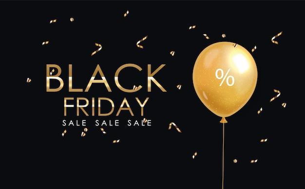 Affiche du vendredi noir avec un ballon et des confettis
