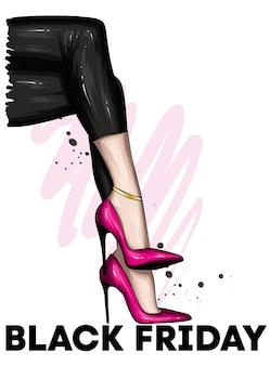 Affiche du vendredi noir avec de belles jambes féminines en chaussures à talons hauts