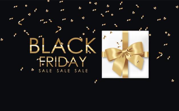 Affiche du vendredi noir avec un cadeau et des confettis