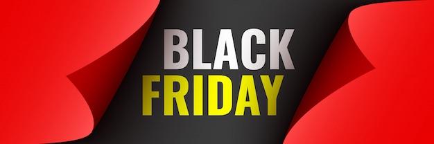 Affiche du vendredi noir. ruban rouge avec bords incurvés sur fond noir. autocollant. illustration.
