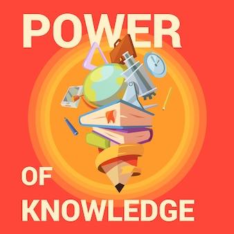 Affiche de l'éducation avec fournitures scolaires en style cartoon rétro