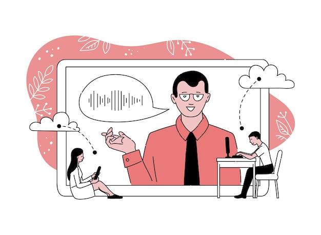 Affiche éducative en ligne avec haut-parleur de dessin animé sur écran de tablette géant