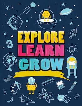 Affiche éducative pour enfants avec des icônes