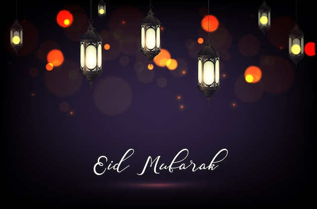 Affiche eid mubarak avec lampe lanterne et fond bokeh