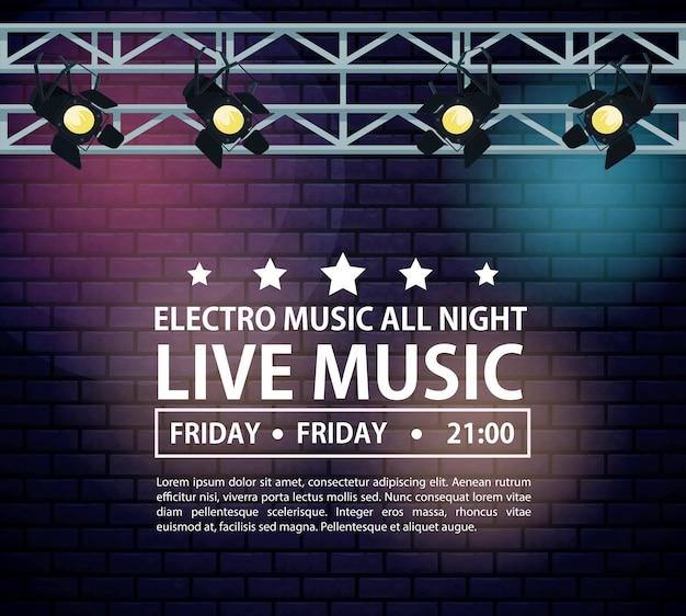 Affiche electro festivas de musique avec des lumières de la scène