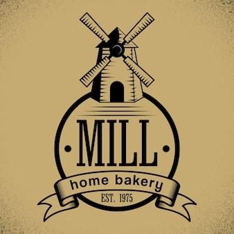 Affiche élégante de boulangerie avec dessin animé de moulin sur illustration beige