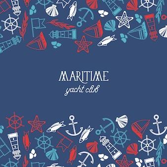 Affiche élégante du club nautique maritime divisée en trois parties