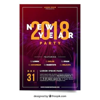 Affiche élégante de fête du nouvel an 2018