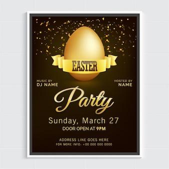 Affiche élégante de fête avec oeuf de pâques d'or