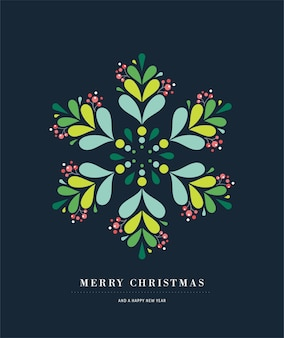 Affiche élégante de flocon de neige, icône d'hiver, modèle de carte de voeux joyeux noël