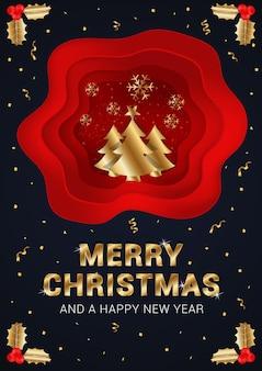 Affiche élégante de joyeux noël et bonne année avec des éléments décoratifs dorés