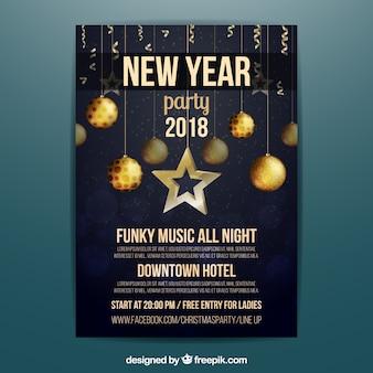 Affiche élégante de la nouvelle année 2018