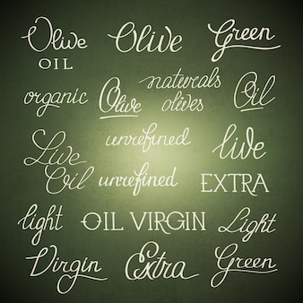 Affiche élégante originale en noir et blanc avec lettrage huile d'olive extra vierge non raffinée