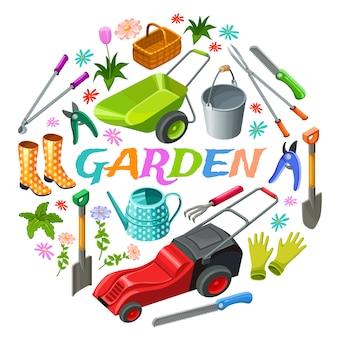 Affiche d'éléments isométriques de jardin.