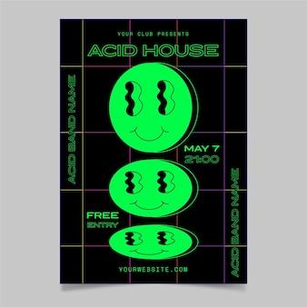 Affiche emoji acide design plat