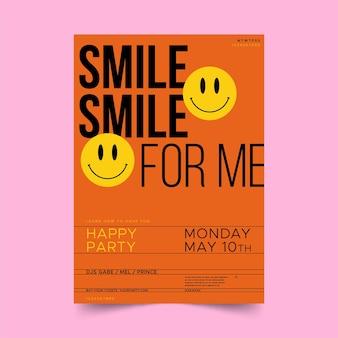 Affiche Emoji Acide Design Plat Vecteur gratuit