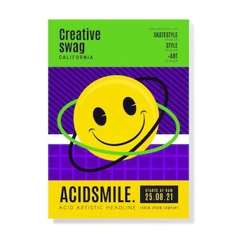 Affiche emoji acide plat