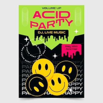 Affiche d'emoji de fête d'acide plat