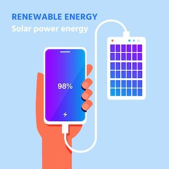 Affiche d'énergie solaire portable pour recharge de téléphone