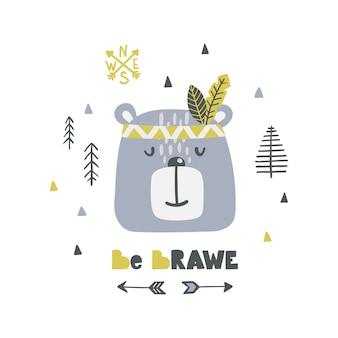 Affiche enfantine avec lettrage mignon ours indien et fanny.