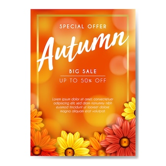Affiche d'escompte en ligne de vente de fleurs d'automne