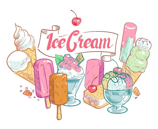 Affiche estivale de glace aux fruits croquis vintage