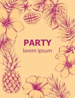 Affiche d'été d'ananas et de fleurs tropicales