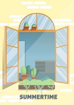Affiche d'été fenêtre au soleil