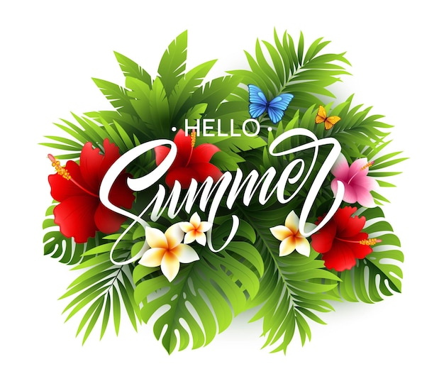 Affiche d'été avec feuille de palmier tropical et lettrage d'écriture.