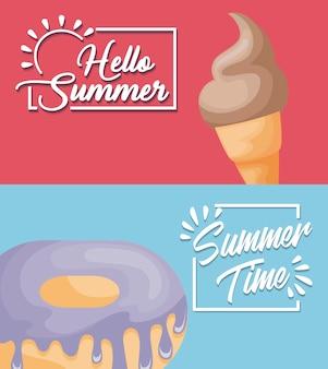 Affiche d'été avec glace et beignet