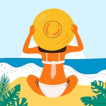 Affiche d'été rétro avec une belle femme. grande bannière pour la fête sur la plage, publicité pour les vacances à l'hôtel. fond d'été. vecteur.