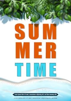 Affiche d'été avec des vagues de la mer et des feuilles tropicales
