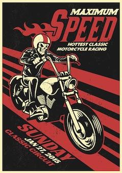 Affiche d'événement de course de moto dans le style vintage et sale