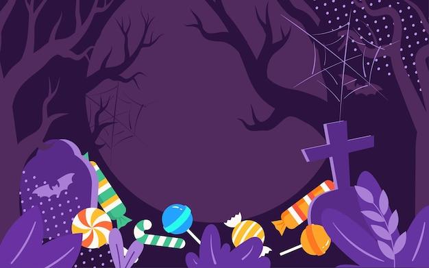 Affiche d'événement de fête magique d'illustration de bonbons de lanterne de citrouille d'halloween