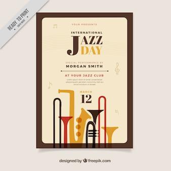 Affiche de l'événement de jazz avec des instruments de musique