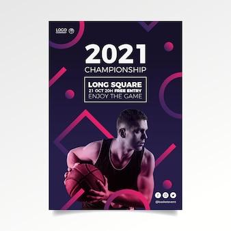 Affiche d'événement sportif abstrait 2021 avec photo