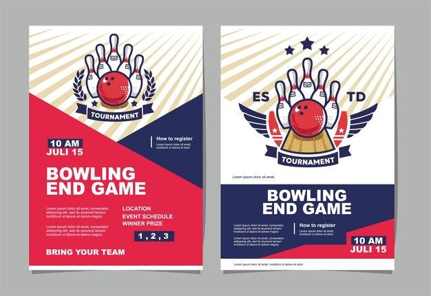 Affiche d'événement de tournoi de bowling et logo de bowling