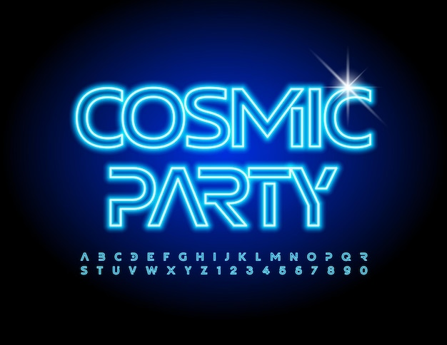 Affiche de l'événement vectoriel cosmic party police électrique futuriste néon bleu alphabet lettres et chiffres s