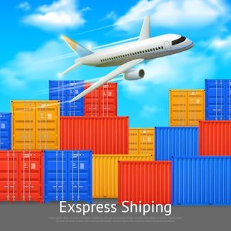 Affiche d'expédition express avec différentes couleurs