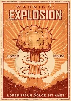 Affiche d'explosion vintage sur fond grunge.