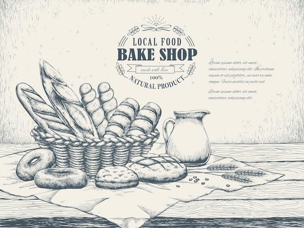 Affiche exquise de boulangerie dessinée à la main avec du pain délicieux