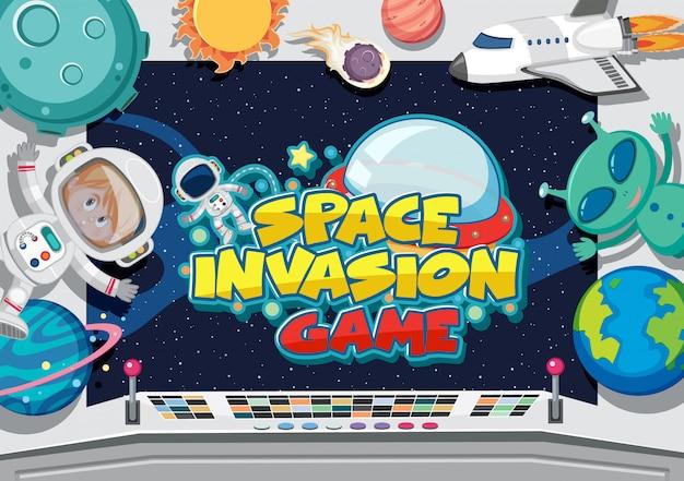Affiche avec extraterrestre et astronaute dans la salle de contrôle