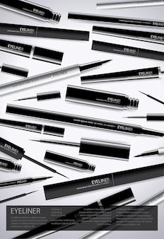 Affiche eyeliner cosmétique avec emballage